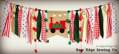 Christmas Train Highchair Banner 1st Birthday Party Decoration - Raw Edge Sewing Co