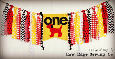 Dog Highchair Banner 1st Birthday Party Decoration - Raw Edge Sewing Co