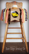 Contruction Truck Highchair Banner 1st Birthday Party Decoration - Raw Edge Sewing Co