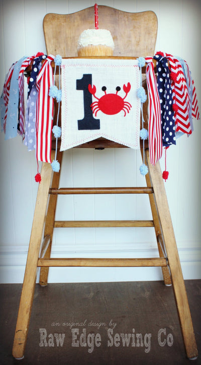 Crab Highchair Banner 1st Birthday Party Decoration - Raw Edge Sewing Co