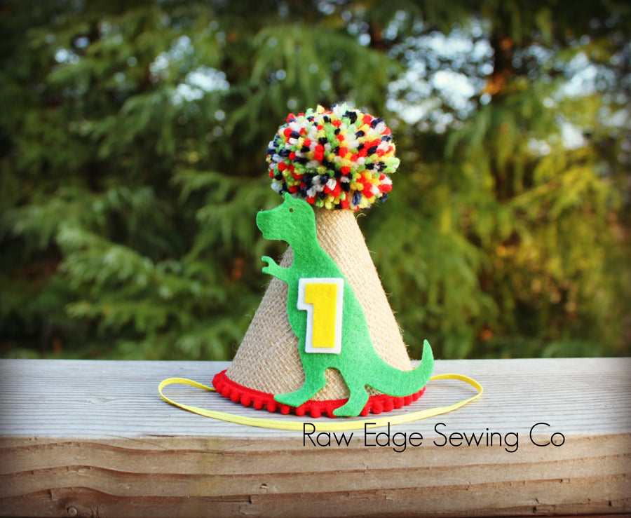 Dinosaur Hat First Birthday - Raw Edge Sewing Co