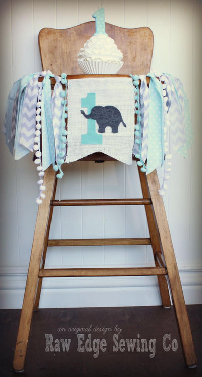 Elephant Highchair Banner 1st Birthday Party Decoration - Raw Edge Sewing Co