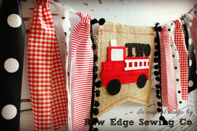Fire Truck Highchair Banner 1st Birthday Party Decoration - Raw Edge Sewing Co