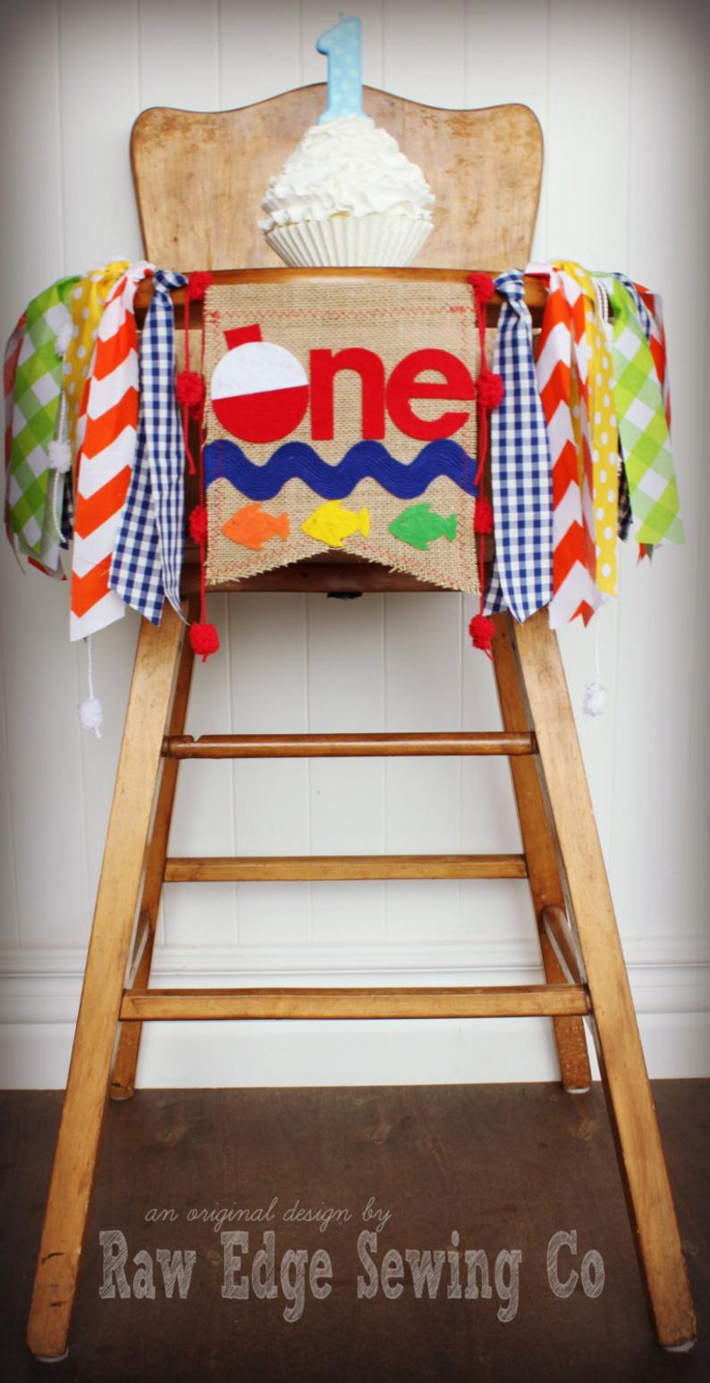 Fishing Highchair Banner 1st Birthday Party Decoration - Raw Edge Sewing Co
