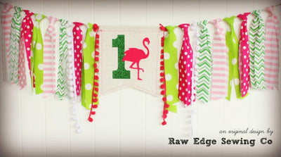 Flamingo Highchair Banner 1st Birthday Party Decoration - Raw Edge Sewing Co