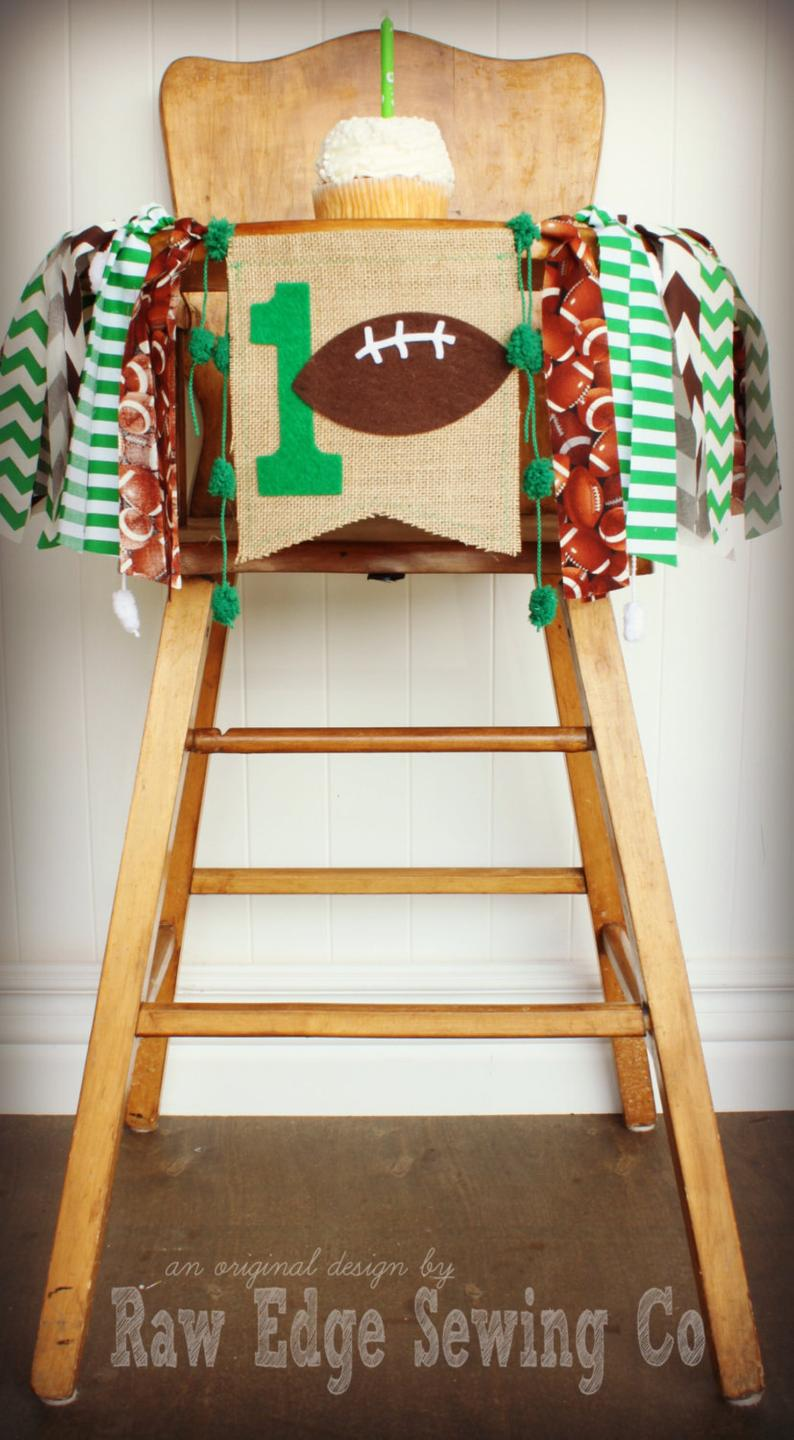 Football Highchair Banner 1st Birthday Party Decoration