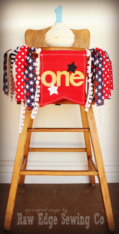 Fourth of July Highchair Banner 1st Birthday Party Decoration - Raw Edge Sewing Co