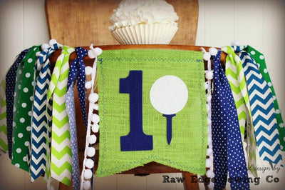 Golf Highchair Banner 1st Birthday Party Decoration - Raw Edge Sewing Co