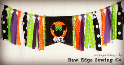 Halloween Minnie Mouse Highchair Banner 1st Birthday Party Decoration - Raw Edge Sewing Co
