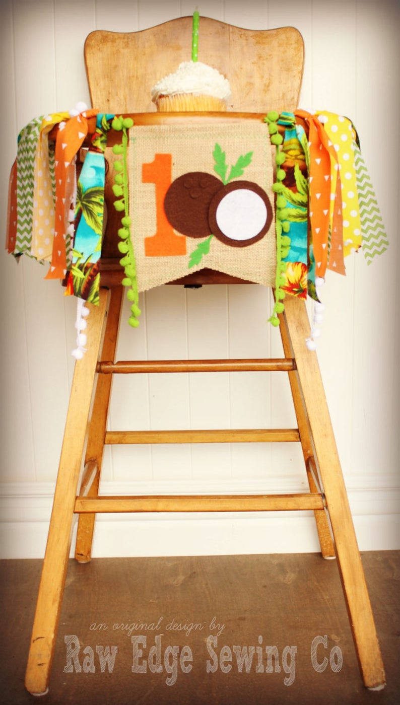 Hawaian Luau Highchair Banner 1st Birthday Party Decoration - Raw Edge Sewing Co