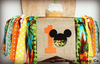 Hawaiian Mickey Mouse Highchair Banner 1st Birthday Party Decoration - Raw Edge Sewing Co