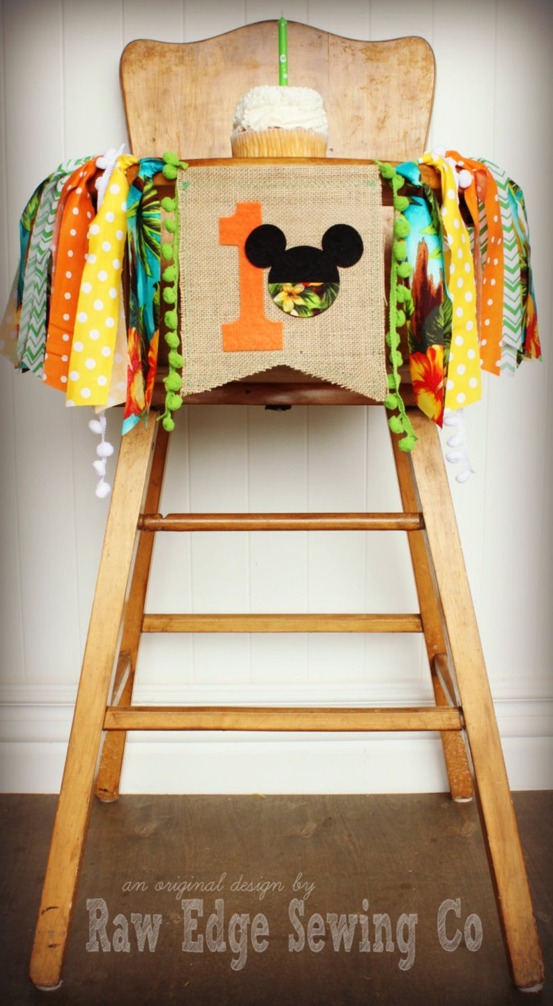 Hawaiian Mickey Mouse Highchair Banner 1st Birthday Party Decoration