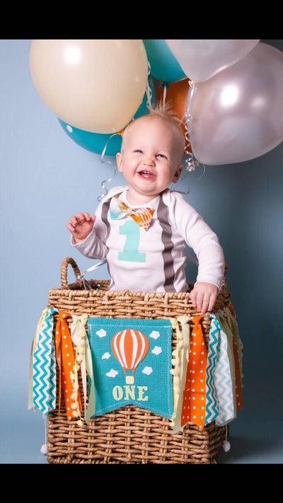 Hot Air Balloon Highchair Banner 1st Birthday Party Decoration - Raw Edge Sewing Co