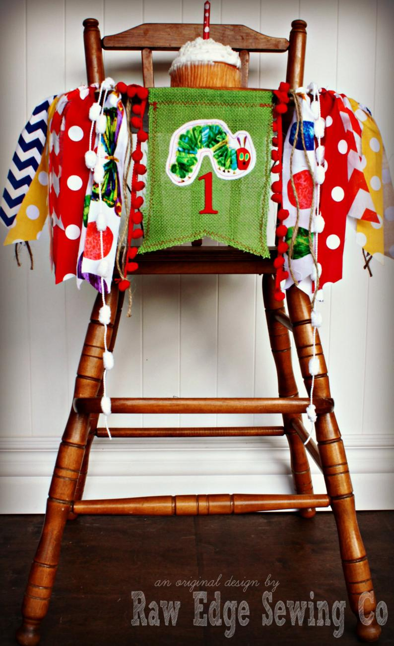 Hungry Caterpillar Highchair Banner 1st Birthday Party Decoration - Raw Edge Sewing Co
