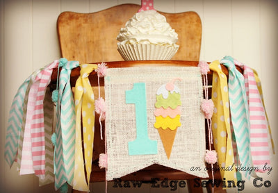 Ice Cream Highchair Banner 1st Birthday Party Decoration - Raw Edge Sewing Co