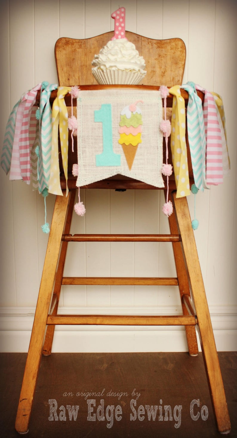 Ice Cream Highchair Banner 1st Birthday Party Decoration