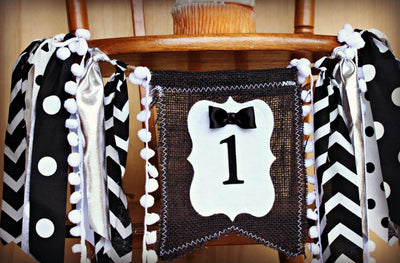 Mr. Onederful Highchair Banner 1st Birthday Party Decoration - Raw Edge Sewing Co