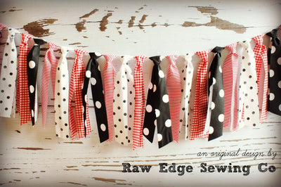 Mickey Mouse Fabric Strips Rag Tie Banner Garland - Raw Edge Sewing Co