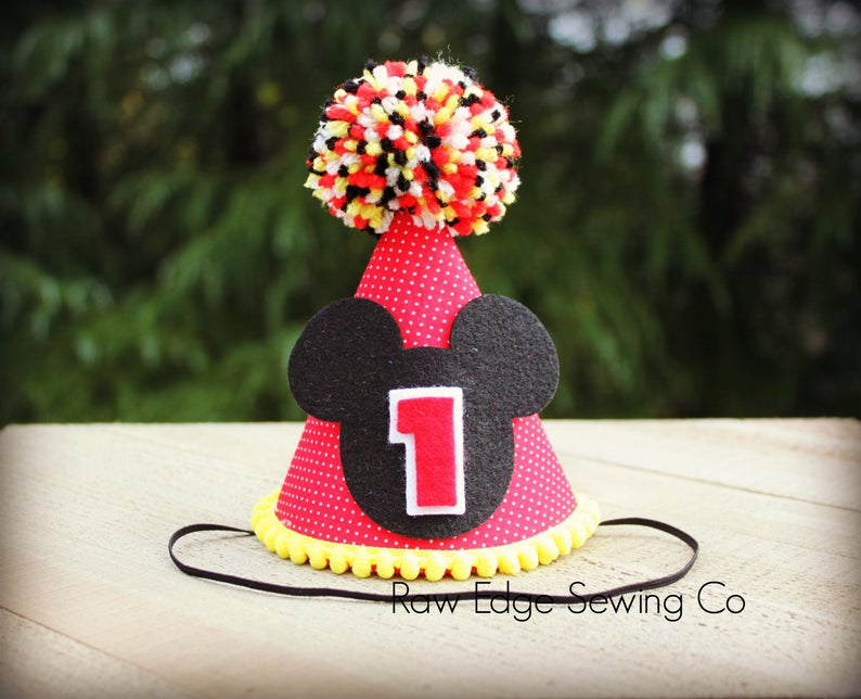 Mickey Mouse Hat First Birthday - Raw Edge Sewing Co