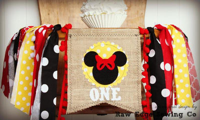 Minnie Mouse Highchair Banner 1st Birthday Party Decoration - Raw Edge Sewing Co