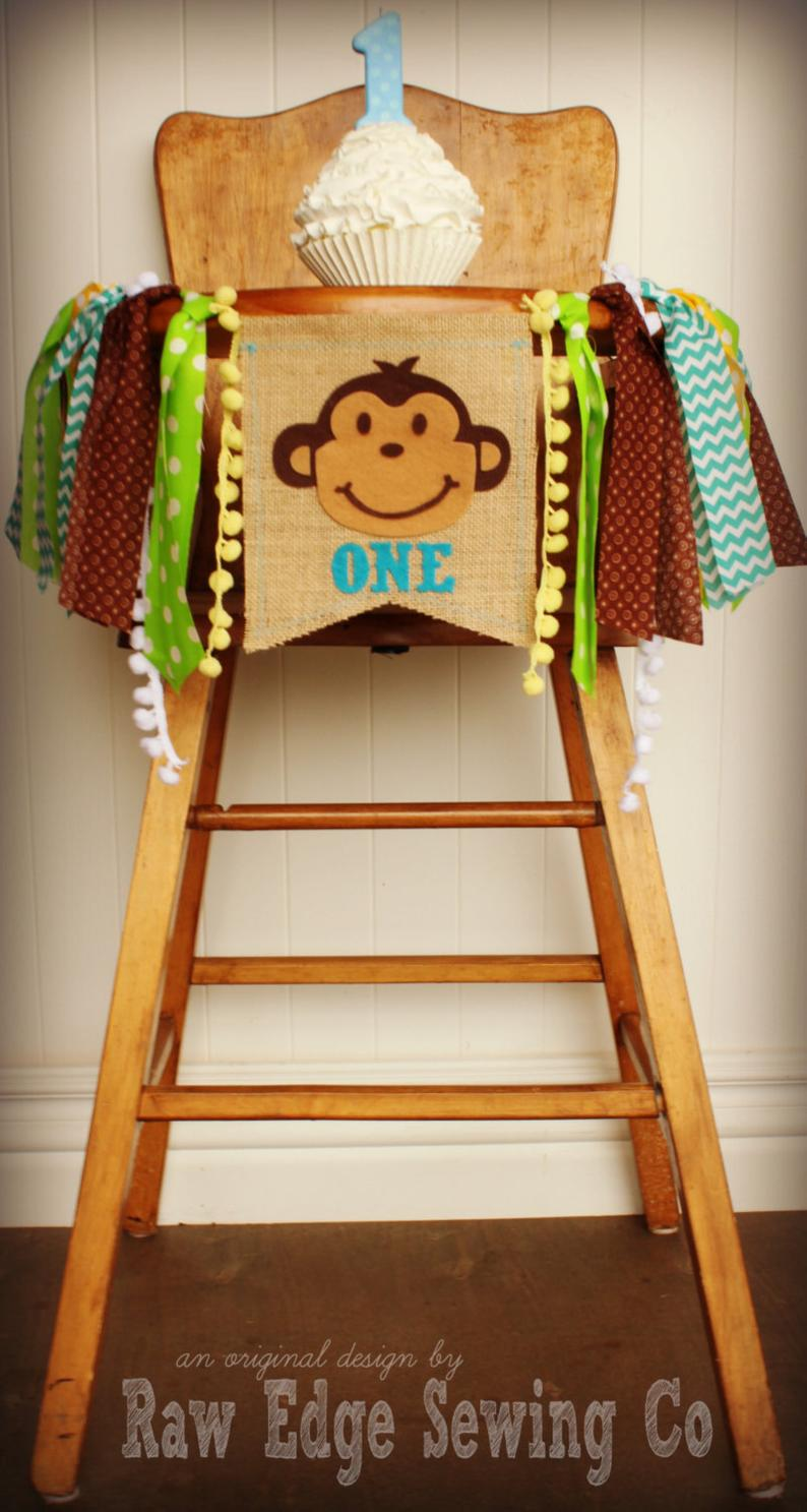 Monkey Highchair Banner 1st Birthday Party Decoration - Raw Edge Sewing Co