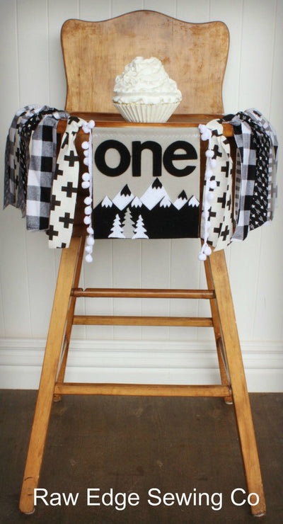 Mountains Highchair Banner 1st Birthday Party Decoration - Raw Edge Sewing Co