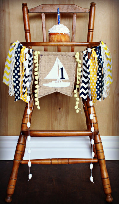 Sail Boat Highchair Banner 1st Birthday Party Decoration - Raw Edge Sewing Co