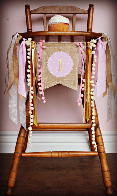 Pink And Gold Highchair Banner 1st Birthday Party Decoration - Raw Edge Sewing Co