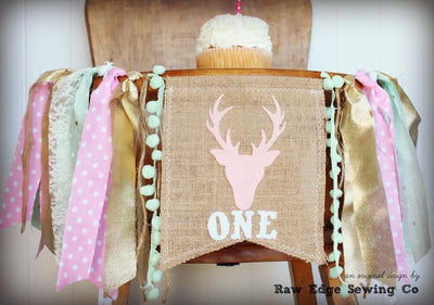 Deer Highchair Banner 1st Birthday Party Decoration - Raw Edge Sewing Co