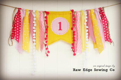 Sunshine Highchair Banner 1st Birthday Party Decoration - Raw Edge Sewing Co