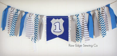 Police Highchair Banner 1st Birthday Party Decoration - Raw Edge Sewing Co