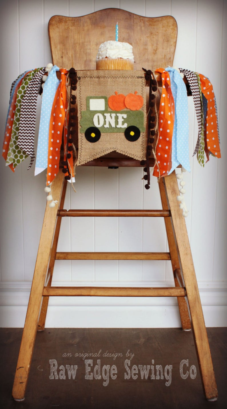 Pumpkin Truck Highchair Banner 1st Birthday Party Decoration - Raw Edge Sewing Co