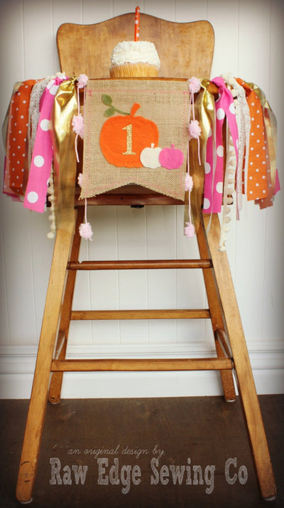 Pumpkin Highchair Banner 1st Birthday Party Decoration - Raw Edge Sewing Co