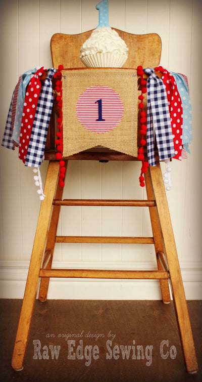Raggedy Ann And Andy Highchair Banner 1st Birthday Party Decoration - Raw Edge Sewing Co