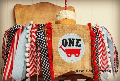 Red Wagon Highchair Banner 1st Birthday Party Decoration - Raw Edge Sewing Co