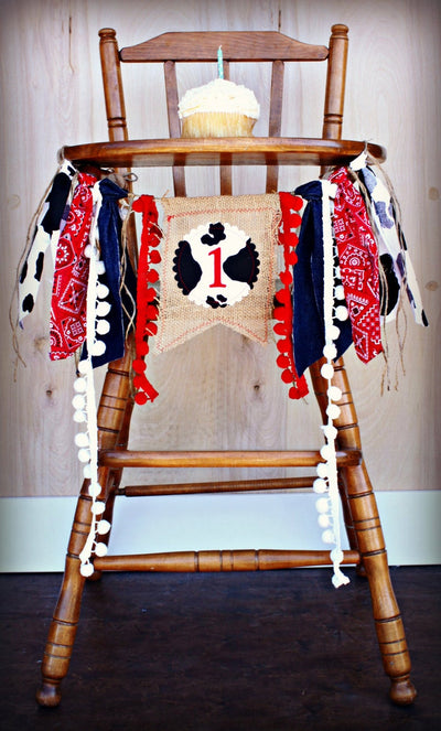 Cowboy Highchair Banner 1st Birthday Party Decoration - Raw Edge Sewing Co