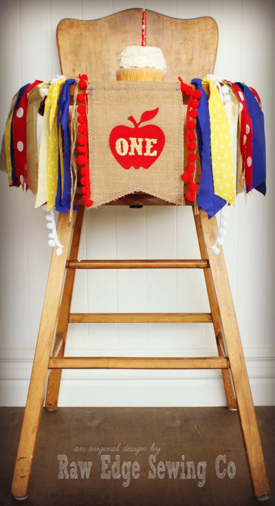 Snow White Highchair Banner 1st Birthday Party Decoration - Raw Edge Sewing Co