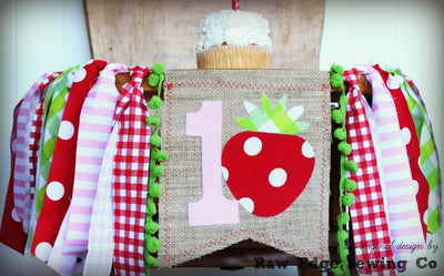 Strawberry Highchair Banner 1st Birthday Party Decoration - Raw Edge Sewing Co