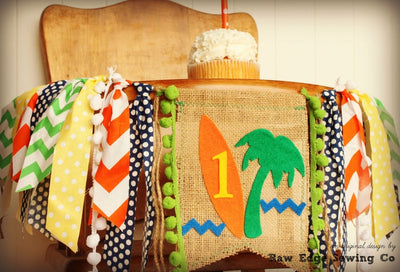 Surfer Highchair Banner 1st Birthday Party Decoration - Raw Edge Sewing Co