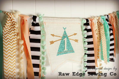 Wild One Highchair Banner 1st Birthday Party Decoration - Raw Edge Sewing Co