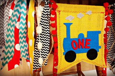 Train Highchair Banner 1st Birthday Party Decoration - Raw Edge Sewing Co