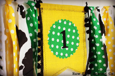 Tractor Highchair Banner 1st Birthday Party Decoration - Raw Edge Sewing Co