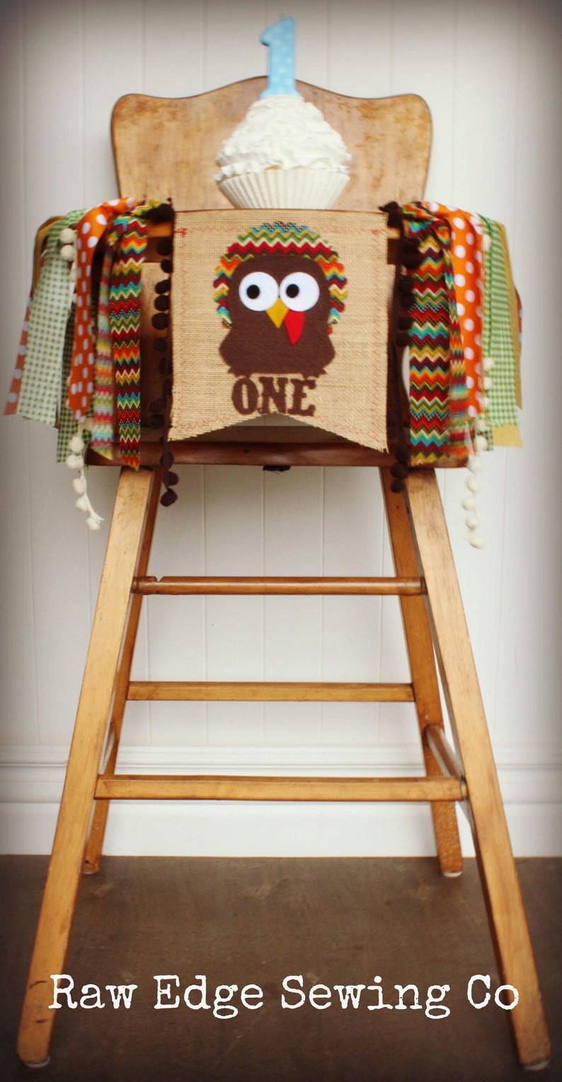 Turkey Highchair Banner 1st Birthday Party Decoration - Raw Edge Sewing Co