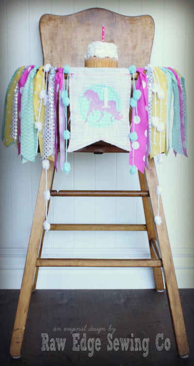 Unicorn Highchair Banner 1st Birthday Party Decoration - Raw Edge Sewing Co