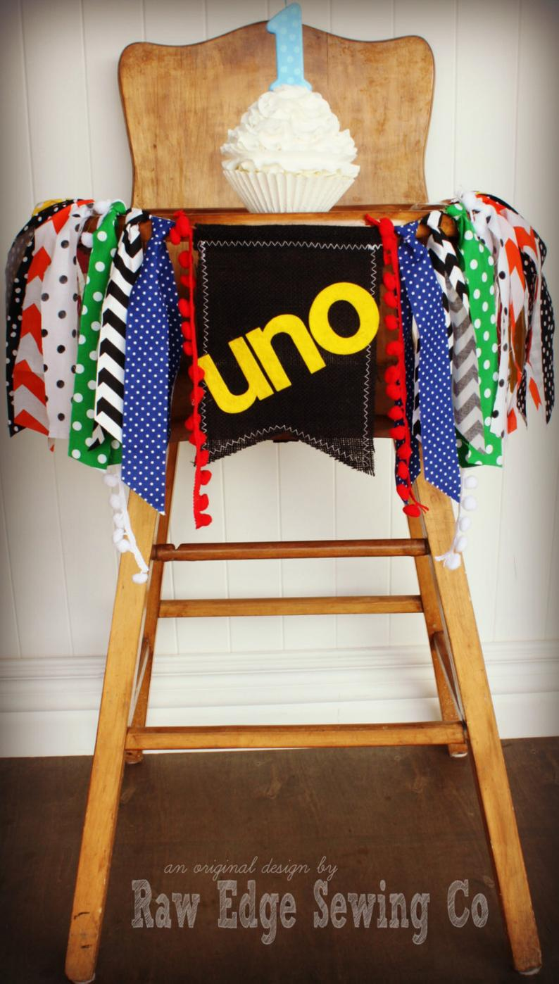 Uno Highchair Banner 1st Birthday Party Decoration - Raw Edge Sewing Co