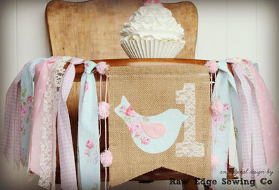 Vintage Bird Highchair Banner 1st Birthday Party Decoration - Raw Edge Sewing Co
