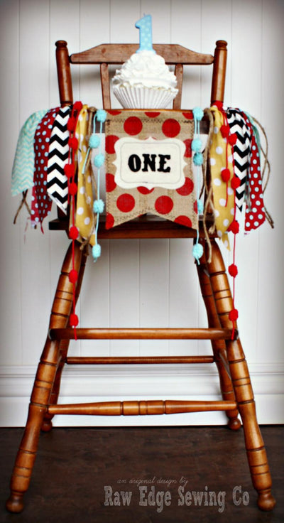 Vintage Circus Highchair Banner 1st Birthday Party Decoration - Raw Edge Sewing Co