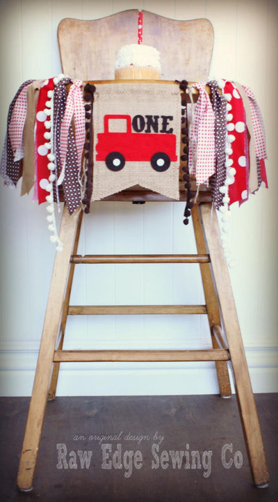 Red Truck Highchair Banner 1st Birthday Party Decoration - Raw Edge Sewing Co