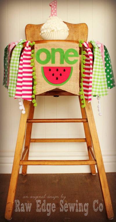 Watermelon Highchair Banner 1st Birthday Party Decoration - Raw Edge Sewing Co