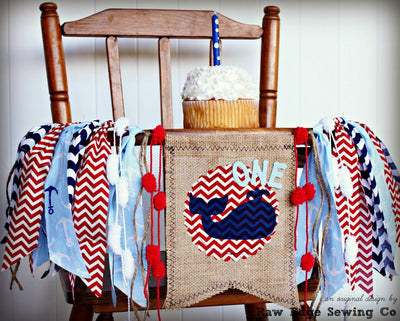 Whale Highchair Banner 1st Birthday Party Decoration - Raw Edge Sewing Co